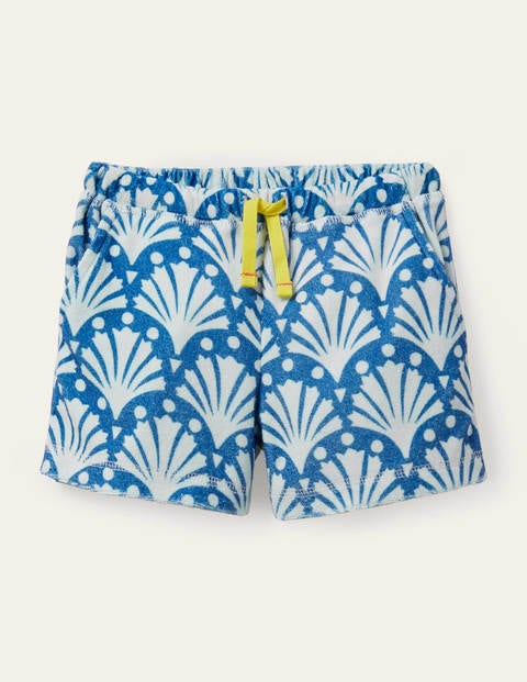 Towelling Shorts - Blue Geo Coral