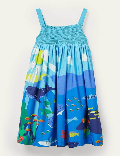 Smocked Sun Dress - Aqua Blue Reef Scene