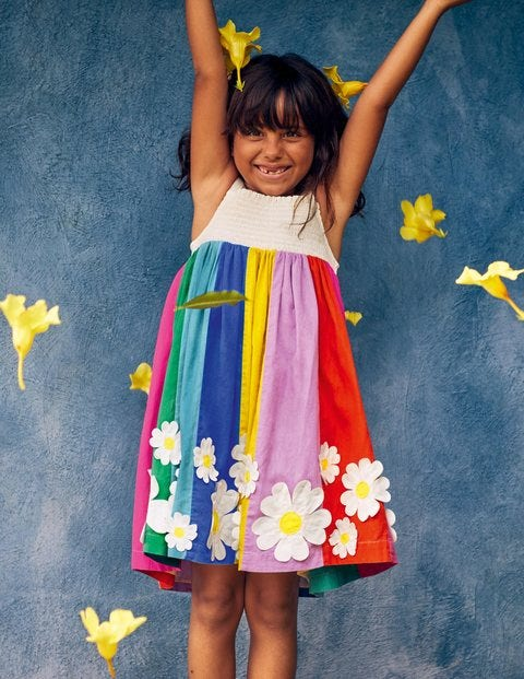 Smocked Sun Dress - Multi Stripe Flowers