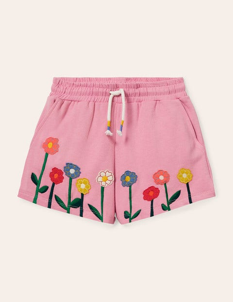 Appliqué Jersey Shorts - Formica Pink Flowers