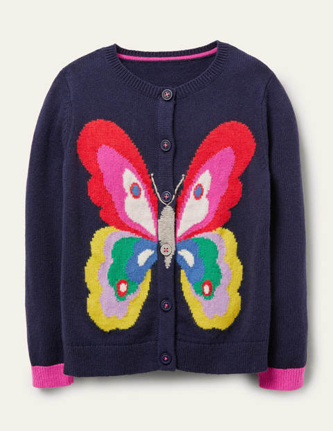 Fun Cardigan - College Navy Butterfly