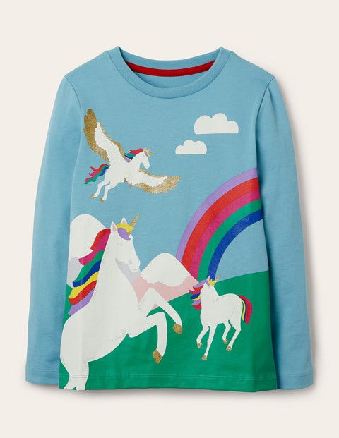 Scene Printed T-shirt - Frost Blue Unicorn