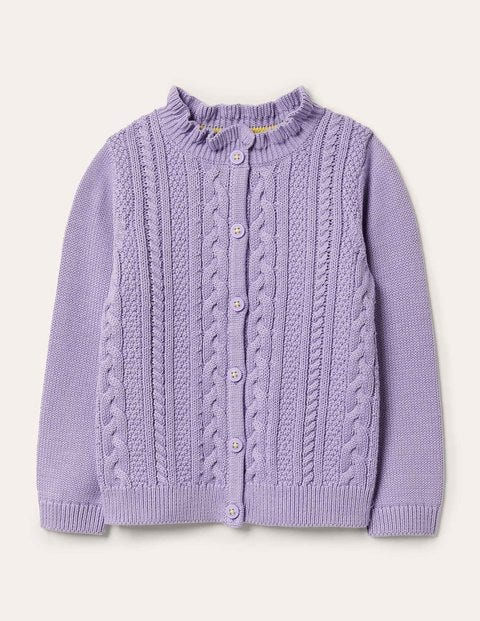 Cable Knit Cardigan - Cool Violet Purple
