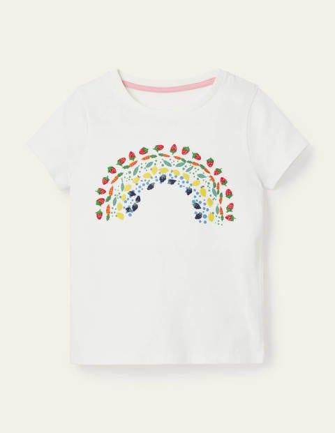 Embroidered Rainbow T-shirt - Ivory Vegetable Rainbow