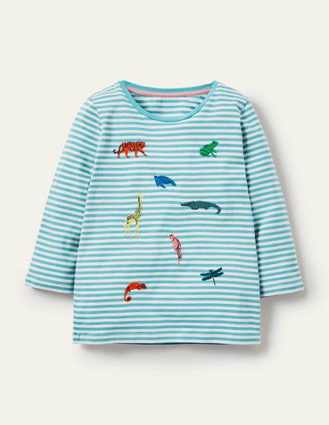 Embroidered Stripy T-shirt - Ivory/ Aqua Blue Animals