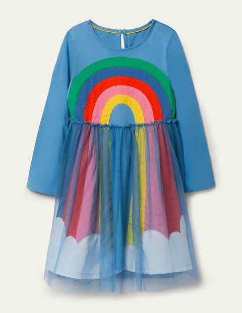 Tulle Appliqué Dress - Elizabethan Blue Rainbow