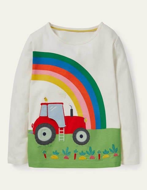 T-shirt tracteur avec rabat à soulever - Tracteur ivoire