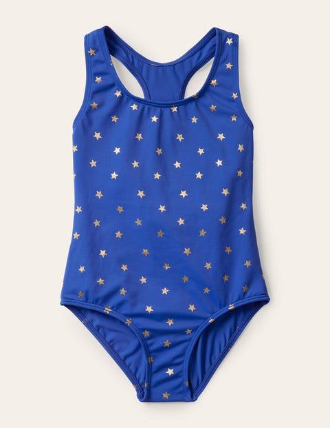 Racer-back Swimsuit - Cornflower Blue Gold Foil Star