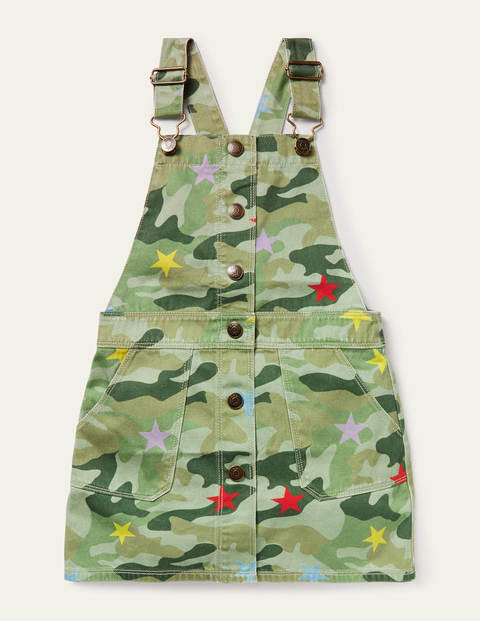 Button Through Overall Dress - Multi Camo Star