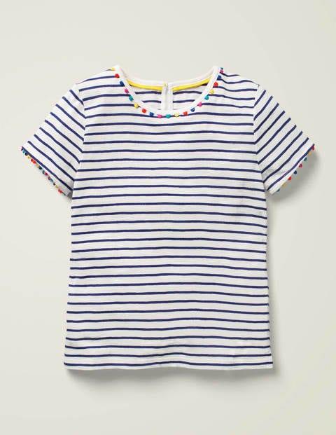 Charlie Pom Jersey T-shirt - Indigo Navy/Ivory