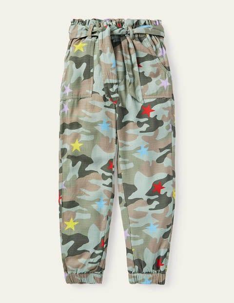 Hose mit Bindegürtel - Buntes Camouflagemuster, Stern
