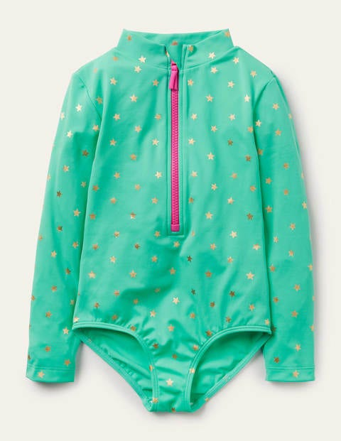Long-sleeved Swimsuit - Light Green Gold Foil Star