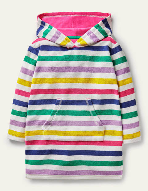 Pattern Towelling Beach Dress - Multi Rainbow Stripe