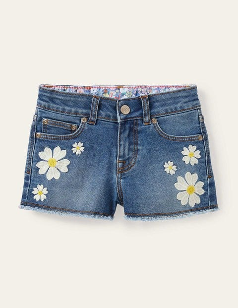 Denim-Shorts - Helles Vintage-Denim, Blumen
