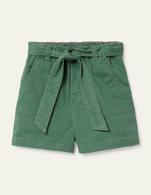 Tie-waist Shorts - Rosemary Green