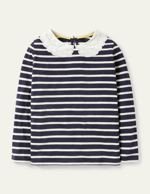 Top avec col en broderie anglaise Mini Me - French Navy/ Ivory