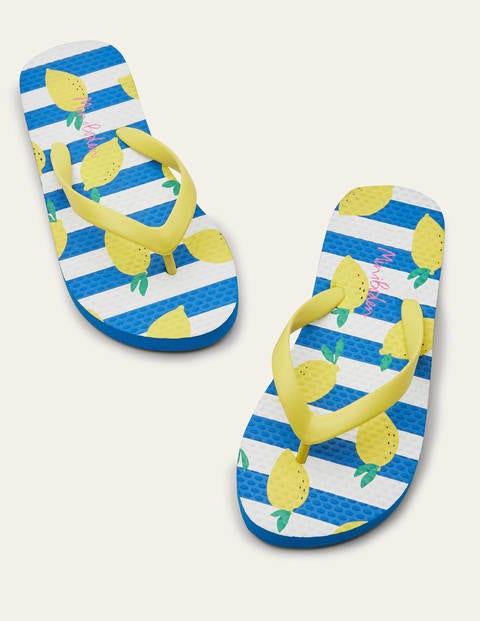 Fun Printed Flip Flops - Ivory/Blue Lemons