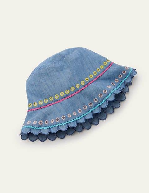 Woven Scalloped Hat - Chambray