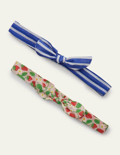 Bow Headbands 2 Pack - Pink Strawberry/Blue