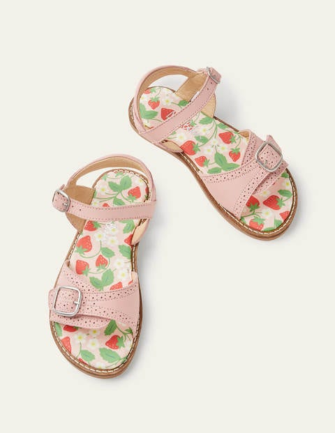 Leather Buckle Sandals - Boto Pink