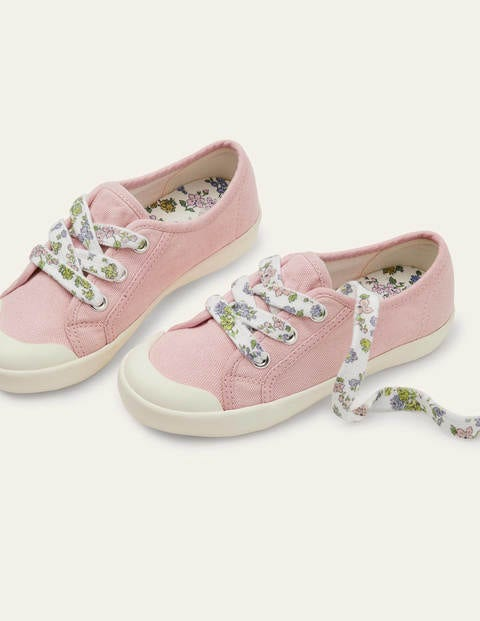 Floral Lace Canvas Shoes - Boto Pink