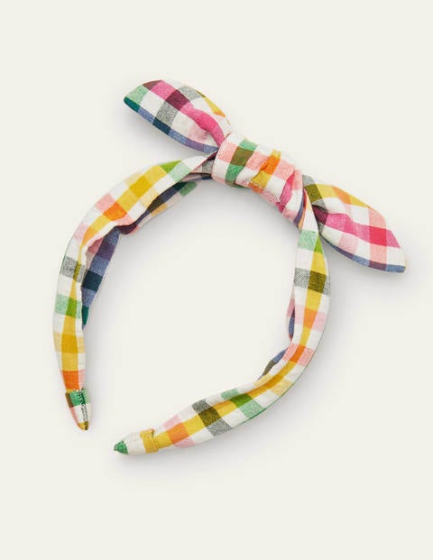 Rainbow Gingham Bow Headband