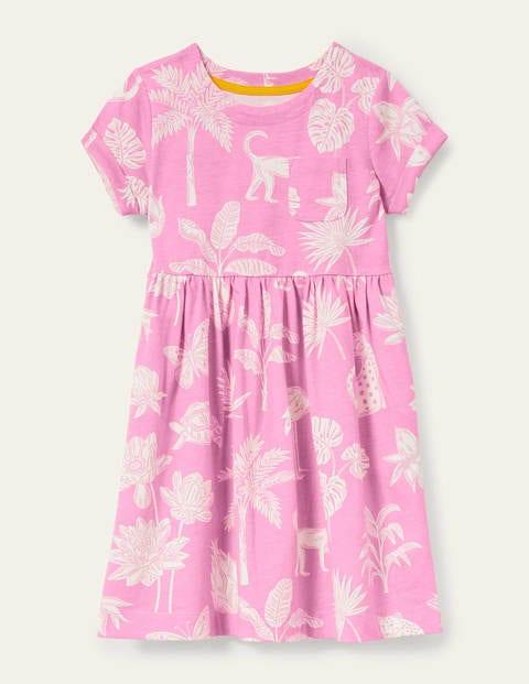 Fun Jersey Dress - Plum Blossom Pink Botanical
