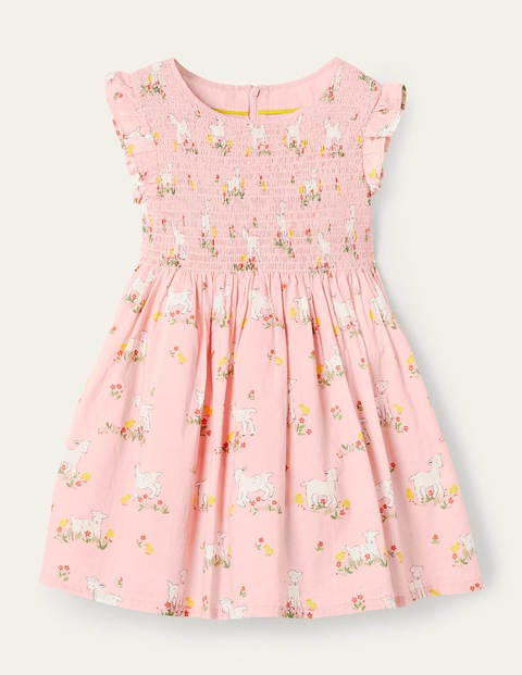 Smocked Woven Dress - Boto Pink Lambs