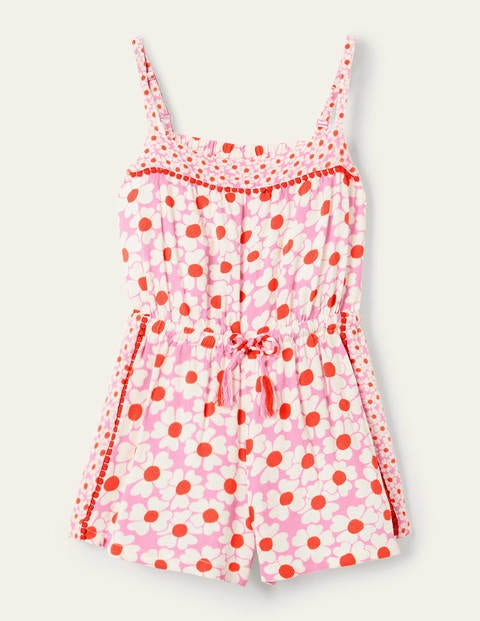 Tassel Tie Woven Romper - Plum Blossom Pink Daisybed