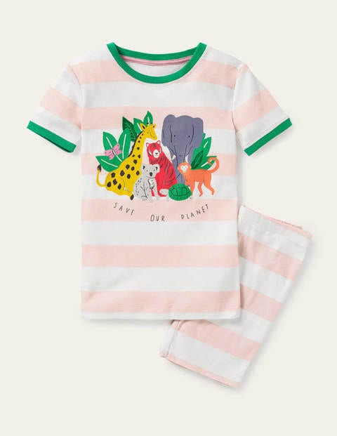 Fun Short John Pajamas - Boto Pink/ Ivory Animals