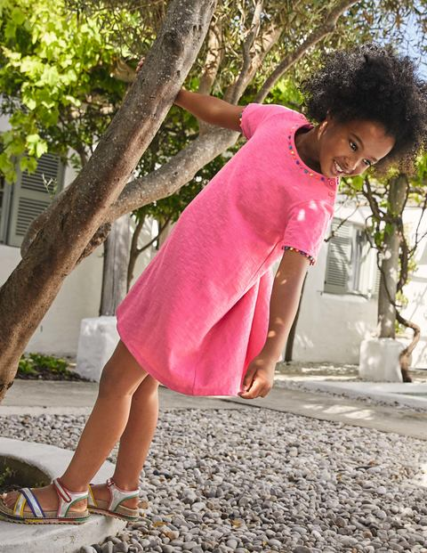 Charlie Pom Jersey Dress - Bright Camellia Pink