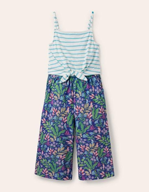 Combinaison en jersey avec détail à nouer - Motif Tropical Garden bleu Venise
