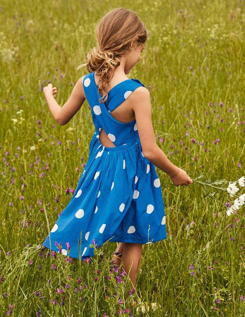 Cross-back Dress - Moroccan Blue Spot