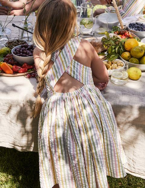 Cross-back Dress - Multi Ticking Stripe