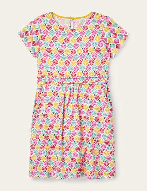 Mini-me Amelie Dress - Multi Palm Leaf Tile