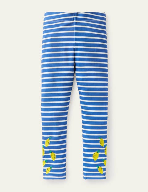 Fun Embroidered Leggings - Moroccan Blue/ Ivory Lemons
