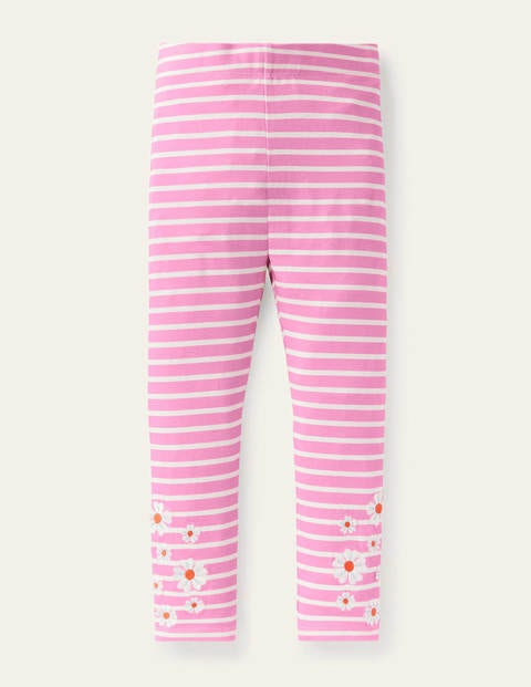 Fun Embroidered Leggings - Plum Blossom Pink/ Ivory Daisy
