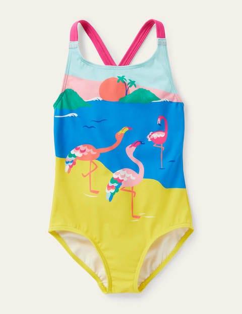 Cross-back Swimsuit - Flamingo Scene