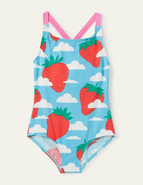 Cross-back Swimsuit - Aqua Blue Strawberry Sky