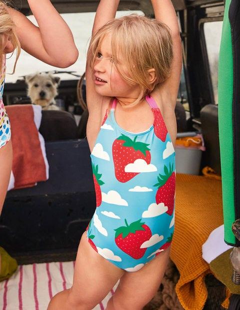 Cross-back Swimsuit - Aqua Blue Strawberry Sky