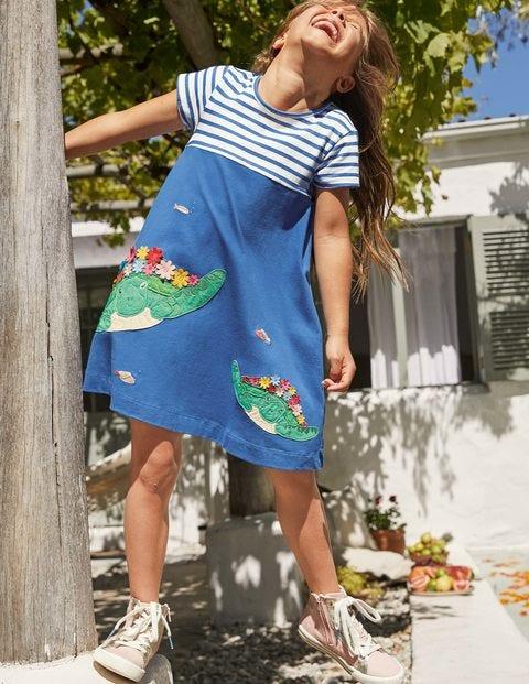 Sealife Appliqué Jersey Dress - Elizabethan Blue Turtles