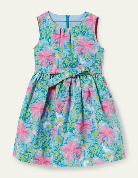 Vintage Dress - Aqua Blue Tropical Charm