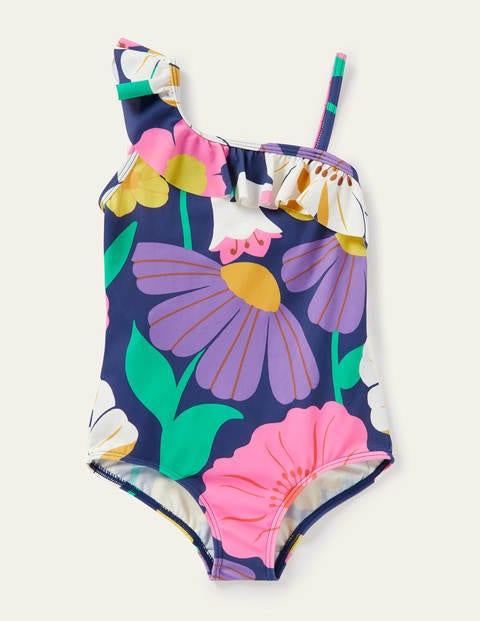 One Shoulder Frill Swimsuit - Multi Fabulous Floral