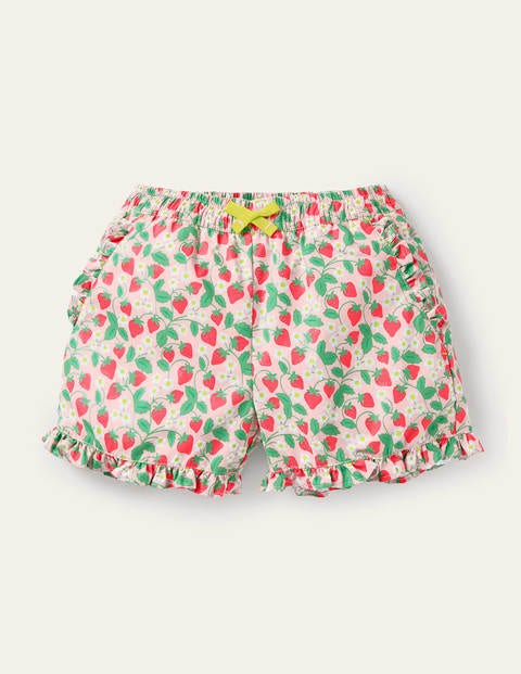 Shorts mit gerüschtem Saum - Delfinrosa, Filigranes Erdbeermuster