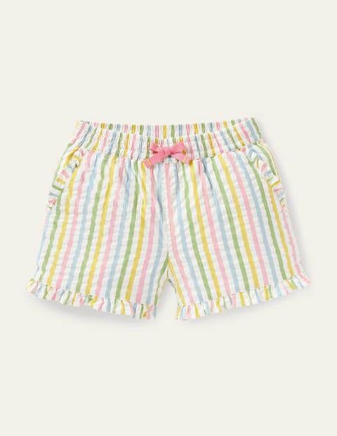 Shorts mit gerüschtem Saum - Bunt, Feine Streifen