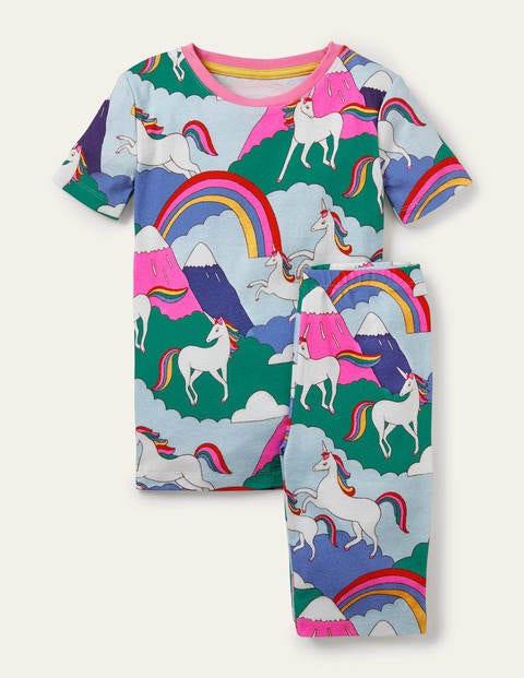 Snug Short John Pajamas - Multi Unicorn Mountain
