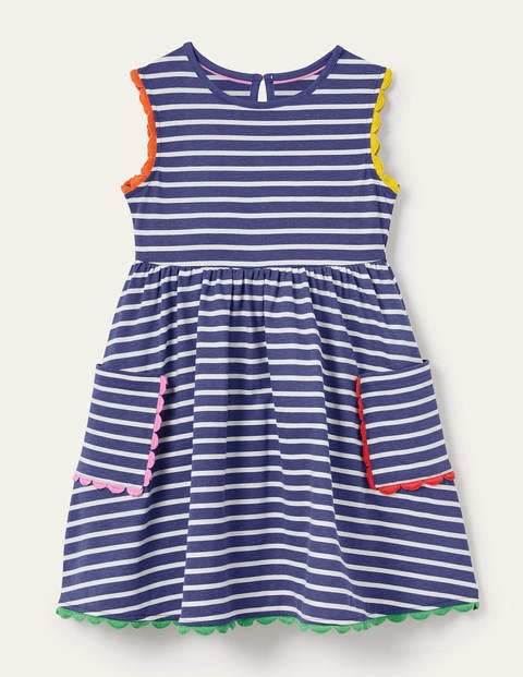 Trim Detail Jersey Dress - Starboard Blue/ Ivory