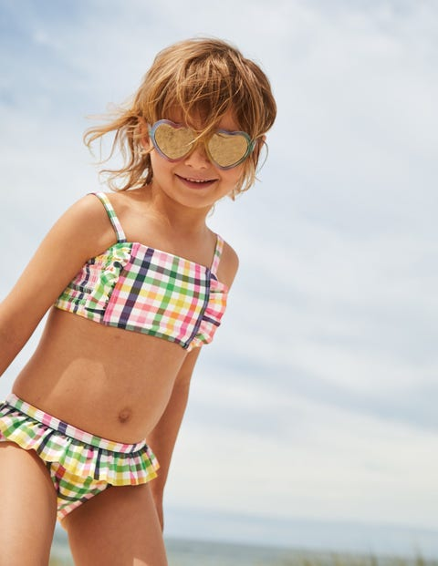 Nostalgic Smocked Bikini - Multi Rainbow Gingham