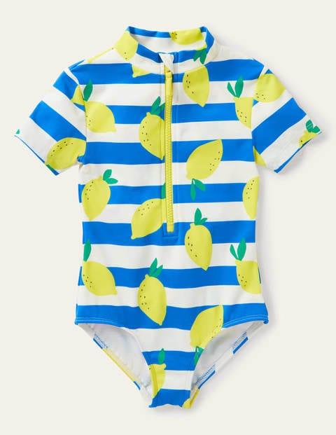 Short-sleeved Swimsuit - Ivory/ Moroccan Blue Lemons