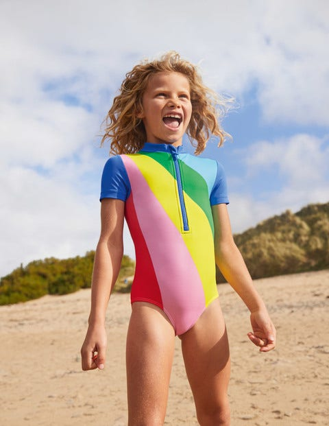 Short-sleeved Swimsuit - Multi Rainbow Ray